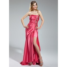 A-Line/Princess Sweetheart Asymmetrical Charmeuse Prom Dress With Ruffle Beading Split Front