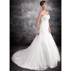 Trumpet/Mermaid Sweetheart Chapel Train Satin Organza Wedding Dress With Beading Appliques Lace