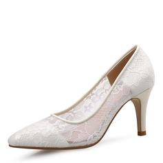 Женщины Кружева Высокий тонкий каблук На каблуках Закрытый мыс обувь