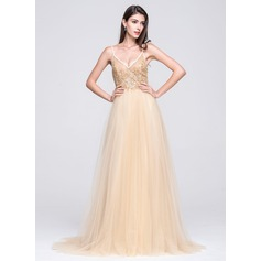 A-Line/Princess V-neck Court Train Tulle Prom Dress With Beading Appliques Lace Sequins