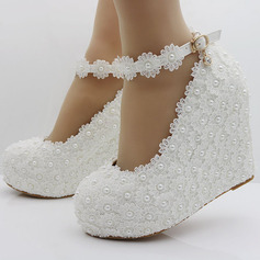 Vrouwen Kunstleer Wedge Heel Closed Toe Plateau Pumps Wedges Mary Jane met Gesp Imitatie Parel Strass Van Toepassing