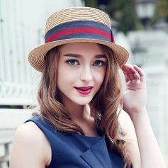 Ladies' Classic Rattan Straw With Bowknot Straw Hat