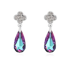 Luxurious Platinum Plated With Crystal Ladies' Earrings
