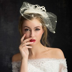 Dames Elegant Kant/Linnen met Tule Fascinators