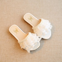 Girl's Peep Toe Lace Flats Slippers With Pearl