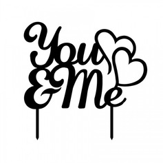 Letter You & Me Acrylic Wedding Cake Topper/Bridal Shower Cake Topper