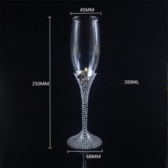 Pearl White Toasting Flutes With Faux Pearl (Set Of 2)