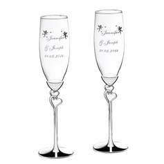 Personalized Double Hearts Glass/Aluminum Toasting Flutes  (118040922)