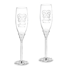 Personalized Bells Glass/Aluminum Toasting Flutes