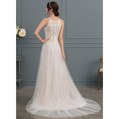 A-Line/Princess Square Neckline Chapel Train Tulle Wedding Dress With Bow(s)