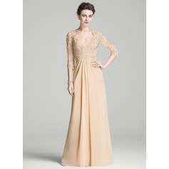 A-Line/Princess Sweetheart Floor-Length Chiffon Mother of the Bride Dress With Ruffle Beading Appliques Lace Sequins