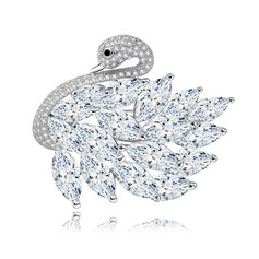 Swan Shaped Copper/Zircon/Platinum Plated Ladies' Body Jewelry