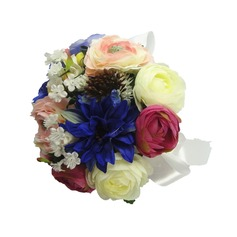Colorful Hand-tied/Round Satin Bridesmaid Bouquets