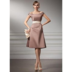 A-Line/Princess Off-the-Shoulder Knee-Length Satin Bridesmaid Dress With Sash