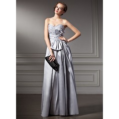 A-Line/Princess Sweetheart Floor-Length Taffeta Holiday Dress With Lace Beading Sequins
