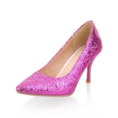 Women's Sparkling Glitter Cone Heel Pumps Closed Toe shoes