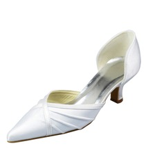 Women's Satin Stiletto Heel Closed Toe Pumps With Ruched