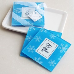 Snowflake Glass Coaster With Ribbons