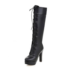 Women's PU Chunky Heel Pumps Platform Boots Knee High Boots With Zipper Lace-up shoes