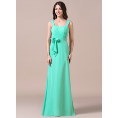 Sheath/Column Sweetheart Floor-Length Chiffon Bridesmaid Dress With Ruffle Bow(s)