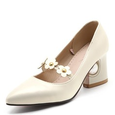 Women's Leatherette Flat Heel Closed Toe With Flower