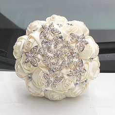 Round Satin/Rhinestone Bridal Bouquets (Sold in a single piece) -