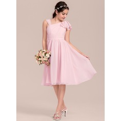 A-Line/Princess V-neck Knee-Length Chiffon Junior Bridesmaid Dress With Cascading Ruffles