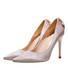 Vrouwen Satijn Stiletto Heel Closed Toe Pumps met Kristal