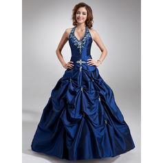 Ball-Gown Halter Floor-Length Taffeta Quinceanera Dress With Embroidered Beading