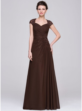 Sweetheart Floor-Length Chiffon Mother of the Bride Dress With Ruffle Lace Beading Sequins