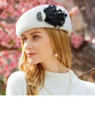 Dames Klassiek Wol met Feather Baret van Hat