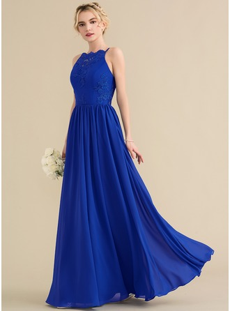 Square Neckline Floor-Length Chiffon Lace Prom Dresses