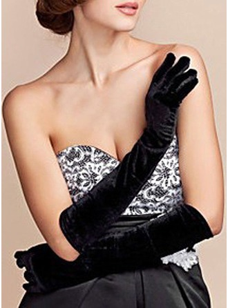 Velvet Elbow Length Bridal Gloves