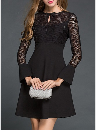 Lace With Lace/Bowknot/Hollow/Ruffles Knee Length Dress