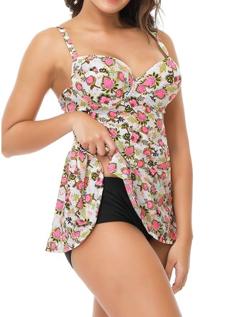 Beautiful Floral Print Nylon Tankinis Swimsuit