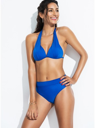 Sexy Solid Color Polyester Bikinis Swimsuit