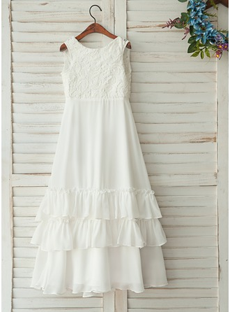 Floor-length Flower Girl Dress - Chiffon Satin Tulle Lace Sleeveless Scoop Neck With Ruffles V Back