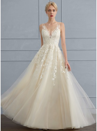 V-neck Floor-Length Tulle Wedding Dress With Beading Sequins