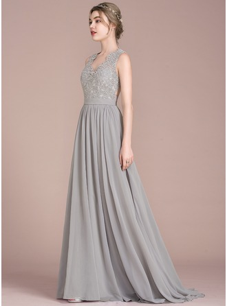V-neck Sweep Train Chiffon Lace Prom Dresses