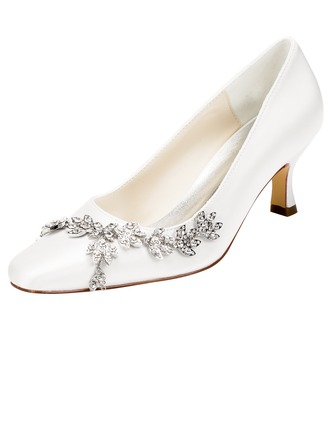 Women's Satin Stiletto Heel Pumps With Crystal