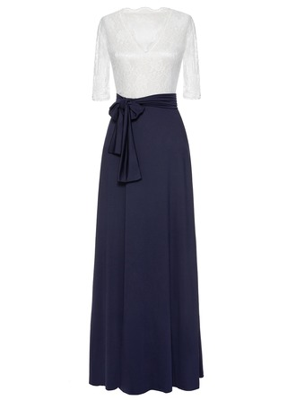 Polyester/Chiffon With Lace/Stitching Maxi Dress