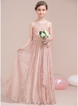 Scoop Neck Floor-Length Lace Junior Bridesmaid Dress With Bow(s)