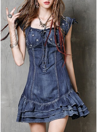 Denim With Stitching/Embroidery/Ruffles Above Knee Dress