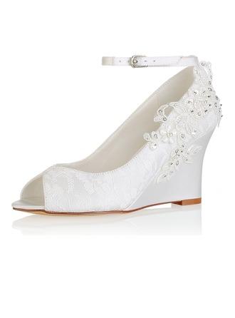Vrouwen zijde als satijn Wedge Heel Peep-toe Pumps Sandalen met Stitching Lace