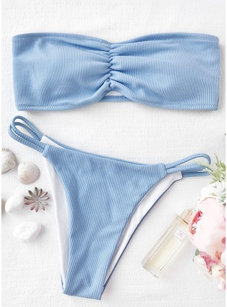 Sexy Solid Color Bandeau Polyester Spandex Bikinis Swimsuit