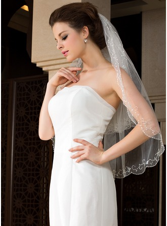Two-tier Beaded Edge Elbow Bridal Veils With Beading/Sequin