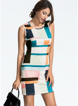 Polyester/Spandex With Print Above Knee Dress