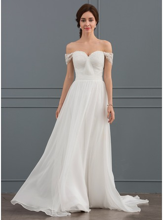 Off-the-Shoulder Sweep Train Chiffon Lace Wedding Dress With Ruffle