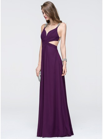 V-neck Floor-Length Chiffon Prom Dresses With Ruffle Beading