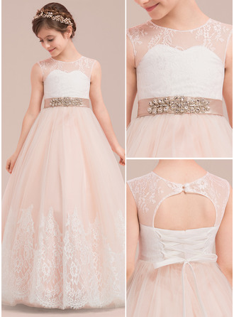 Floor-length Flower Girl Dress - Satin Tulle Lace Sleeveless Scoop Neck With Rhinestone